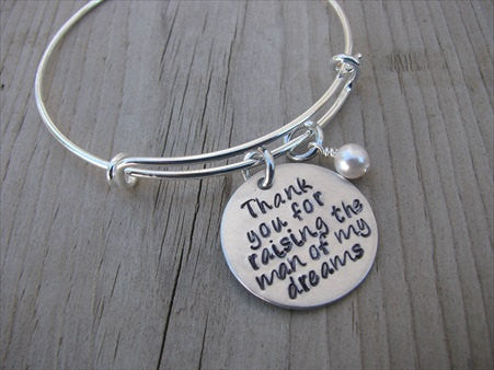 "Mother in Law Bracelet- ""Thank you for raising the man of my dreams"" - Hand-Stamped Bracelet- Adjustable Bangle Bracelet with an accent bead in your choice of colors"