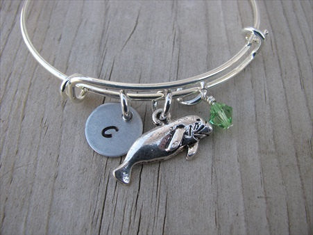 Manatee Charm Bracelet- Adjustable Bangle Bracelet with an Initial Charm and an Accent Bead of your choice