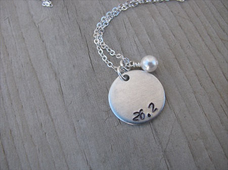 "Marathon Necklace- ""26.2""- Hand-Stamped Necklace with an accent bead in your choice of colors"