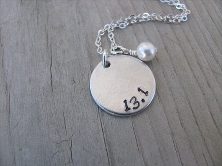 "Half Marathon Inspiration Necklace- ""13.1"" - Hand-Stamped Necklace with an accent bead in your choice of colors"
