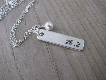 "Marathon Necklace- ""26.2""- Hand-Stamped Necklace with an accent bead of your choice"