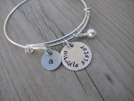 "Middle Sister Bracelet - hand-stamped ""middle sister"" Bracelet with initial charm  - Hand-Stamped Bracelet  -Adjustable Bangle Bracelet with an accent bead of your choice"