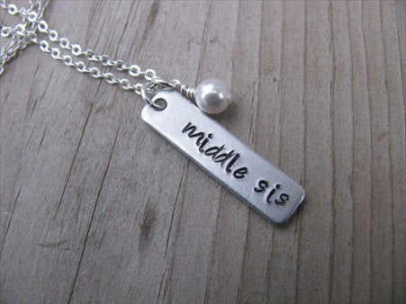 "Middle Sister Necklace-brushed silver rectangle with ""middle sis""- Hand-Stamped Necklace with an accent bead in your choice of colors"