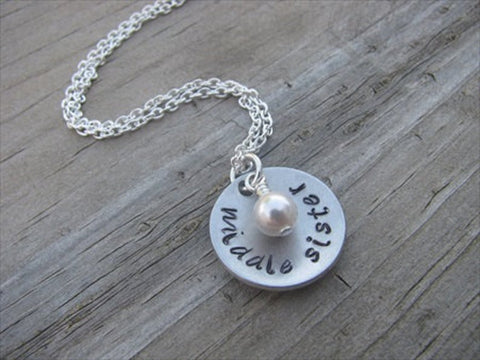 "Middle Sister Necklace- ""middle sister""- Hand-Stamped Necklace with an accent bead in your choice of colors"