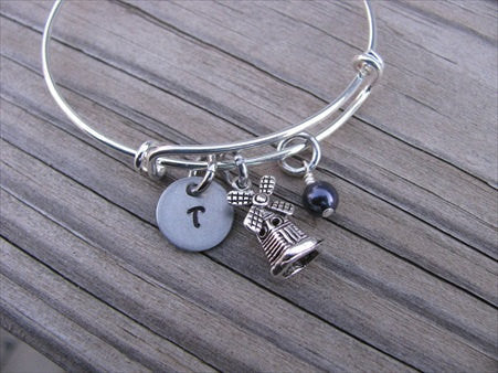 Windmill Charm Bracelet- Adjustable Bangle Bracelet with an Initial Charm and an Accent Bead of your choice