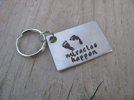 "Expectant Mother or Father Keychain, Baby Shower Gift- hand-stamped footprints, with ""miracles happen""- Hand Stamped Metal Keychain"