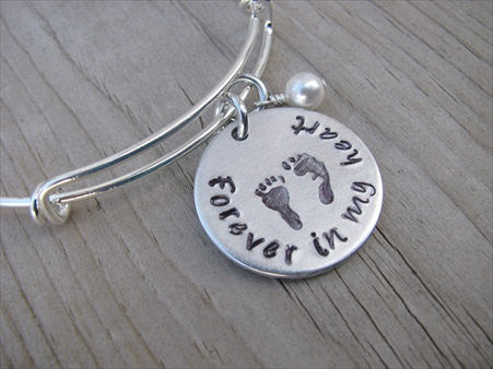 "Baby Loss/Miscarriage Bracelet- Hand-stamped bracelet, ""Forever in my heart"" with stamped baby footprints   - Hand-Stamped Bracelet  -Adjustable Bangle Bracelet with an accent bead of your choice"