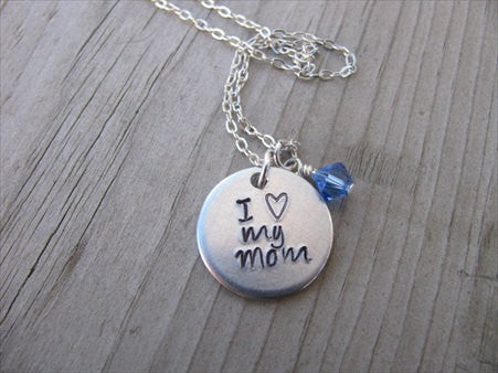 "Mom Necklace- ""I ♥ my mom"" - Hand-Stamped Necklace with an accent bead in your choice of colors"
