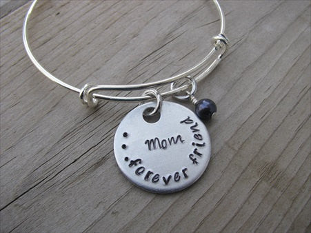 "Mother's Bracelet - ""Mom...forever friend"" Bracelet-  Hand-Stamped Bracelet- Adjustable Bangle Bracelet with an accent bead of your choice"