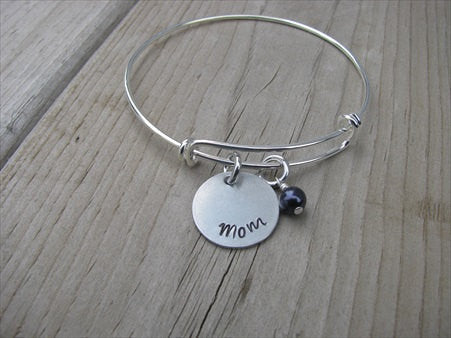 "Gift for Mom- Mother's Bracelet- ""Mom""  - Hand-Stamped Bracelet- Adjustable Bangle Bracelet with an accent bead of your choice"