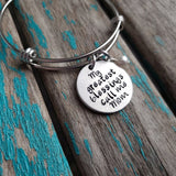"Mother's Bracelet- ""My greatest blessings call me Mom"" Bracelet-  Hand-Stamped Bracelet- Adjustable Bangle Bracelet with an accent bead of your choice"