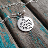 "Mother's Necklace- ""My greatest blessings call me Mom"" - Hand-Stamped Necklace with an accent bead of your choice"