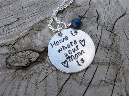 "Mom Necklace- ""Home is where your Mom is"" with hearts  - Hand-Stamped Necklace with an accent bead in your choice of colors"