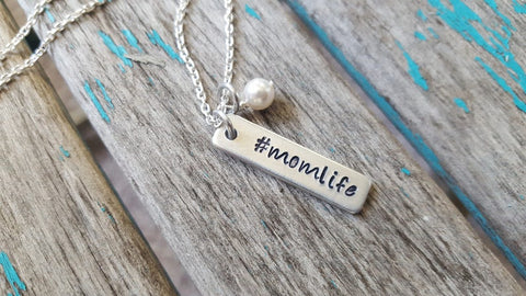 "Mom Necklace - Hand-Stamped Necklace ""#momlife"" with an accent bead of your choice"