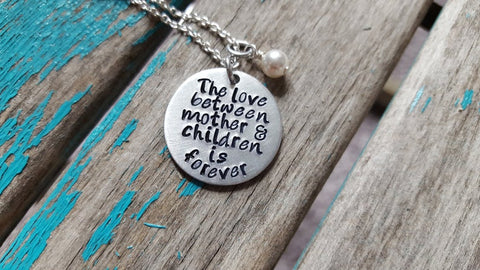 "Mother and Daughter Necklace- Hand-Stamped Necklace ""The love between mother & children is forever"" and with an accent bead in your choice of colors"