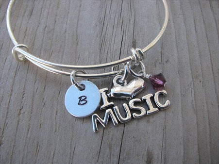 I ♥ Music Charm Bracelet- Adjustable Bangle Bracelet with an accent bead in your choice of colors