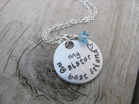 "Sister's Necklace- ""my sister my best friend"" with small heart- Hand-Stamped Necklace with an accent bead of your choice"