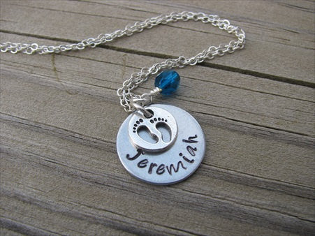 Mom Necklace, New Mother Gift- Personalized Baby Name Necklace- with baby feet charm - Hand-Stamped Necklace with an accent bead in your choice of colors