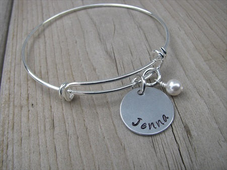 Personalized Name Bangle Bracelet- Adjustable Bangle Bracelet with Hand-Stamped Name of your choice and an accent bead of choice