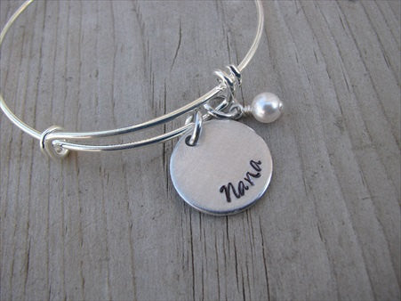 "Nana Bracelet- ""Nana""  - Hand-Stamped Bracelet- Adjustable Bangle Bracelet with an accent bead in your choice of colors"