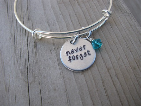"Never Forget Inspiration Bracelet- ""never forget""  - Hand-Stamped Bracelet-Adjustable Bracelet with an accent bead of your choice"