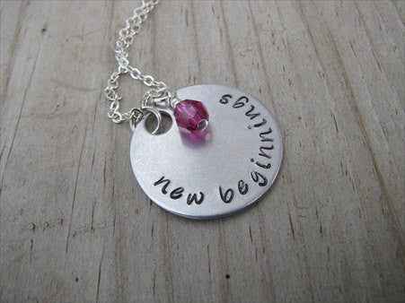 "New Beginnings Inspiration Necklace- ""new beginnings"" - Hand-Stamped Necklace with an accent bead in your choice of colors"
