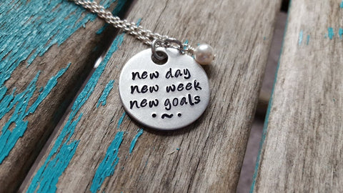 "New Day Necklace- Hand-Stamped Necklace ""new day new week new goals"" with an accent bead in your choice of colors"