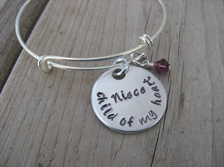 "Niece Bracelet- ""Niece child of my heart"" - Hand-Stamped Bracelet- Adjustable Bangle Bracelet with an accent bead of your choice"