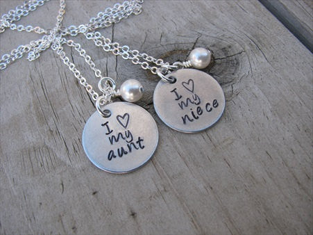 "Aunt, Niece Necklace Set, ""I ♥ my aunt"" and ""I ♥ my niece"" with an accent bead of your choice on each- set of 2 necklaces- Hand-Stamped Necklaces  -with an accent bead of your choice"