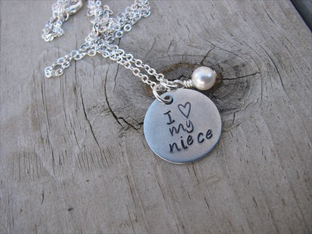 "Niece Necklace- ""I ♥ my niece"" - Hand-Stamped Necklace with an accent bead in your choice of colors"