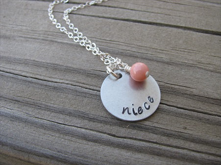 "Niece Necklace- ""niece""- Hand-Stamped Necklace with an accent bead in your choice of colors"