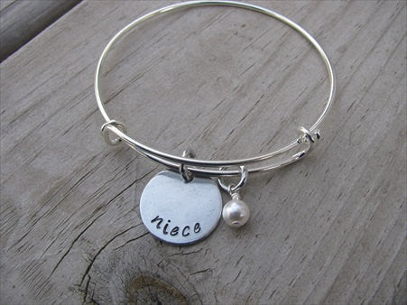 "Niece Bracelet- ""niece""  - Hand-Stamped Bracelet- Adjustable Bangle Bracelet with an accent bead in your choice of colors"