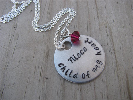 "Niece Necklace, Gift for Niece ""Niece- child of my heart""   - Hand-Stamped Necklace with an accent bead of your choice"