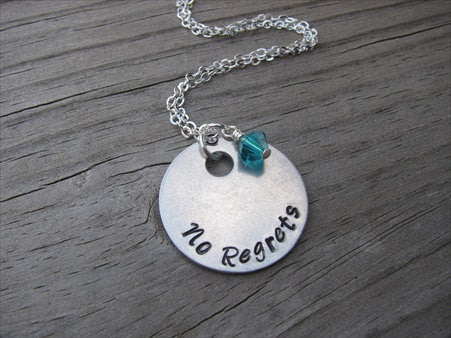 "No Regrets Inspiration Necklace- ""No Regrets"" - Hand-Stamped Necklace with an accent bead in your choice of colors"
