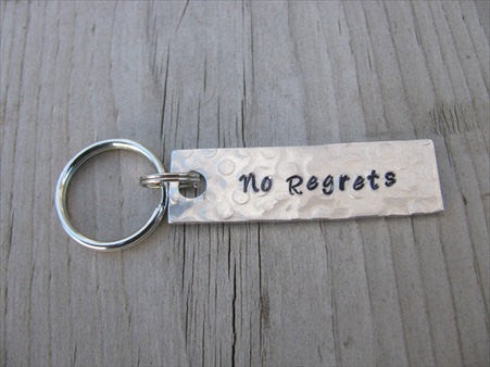 "No Regrets Inspiration Keychain - ""No Regrets""  - Hand Stamped Metal Keychain- small, narrow keychain"