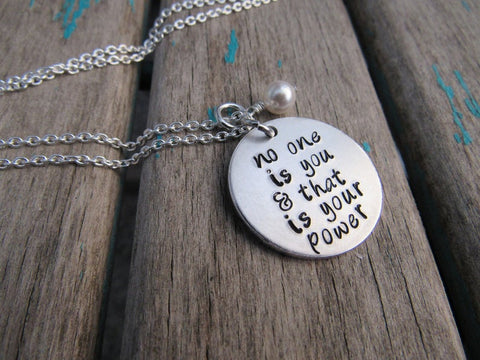 "No One Is You Necklace- Hand-Stamped Necklace ""no one is you & that is your power"" and with an accent bead in your choice of colors"