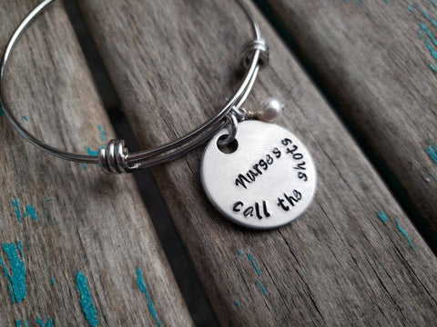 "Nurse's Bracelet, Gift for Nurse, Nursing Student, Caregiver- ""Nurses call the shots"" - Hand-Stamped Bracelet- Adjustable Bangle Bracelet with an accent bead in your choice of colors"