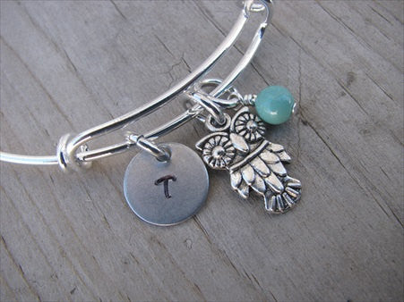 Owl Charm Bracelet- Adjustable Bangle Bracelet with an Initial Charm and an Accent Bead of your choice
