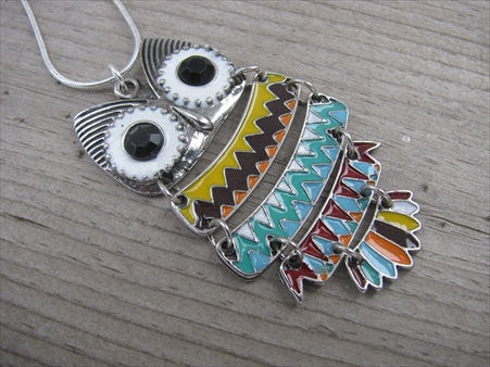 SALE- Owl Necklace- Colorful Antique Silver, Yellow, Purple, Orange, Green, Red, Blue, etc.- LARGE Pendant