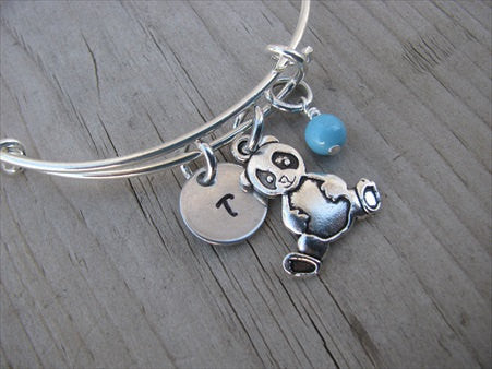 Panda Charm Bracelet- Adjustable Bangle Bracelet with an Initial Charm and an Accent Bead of your choice
