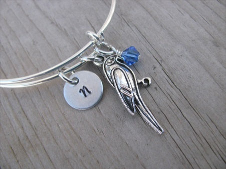Parrot Charm Bracelet- Adjustable Bangle with an Initial Charm and an Accent Bead of your choice
