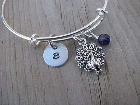 Peacock Charm Bracelet- Adjustable Bangle Bracelet with an Initial Charm and an Accent Bead of your choice