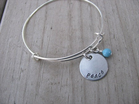 "Peace Inspiration Bracelet- ""peace""  - Hand-Stamped Bracelet- Adjustable Bangle Bracelet with an accent bead of your choice"