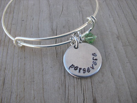 "Persevere Inspiration Bracelet- ""persevere""  - Hand-Stamped Bracelet  -Adjustable Bangle Bracelet with an accent bead of your choice"