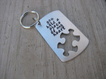 "Inspiration Puzzle Piece Keychain -""you hold a piece of my heart"" - Hand Stamped Metal Keychain"