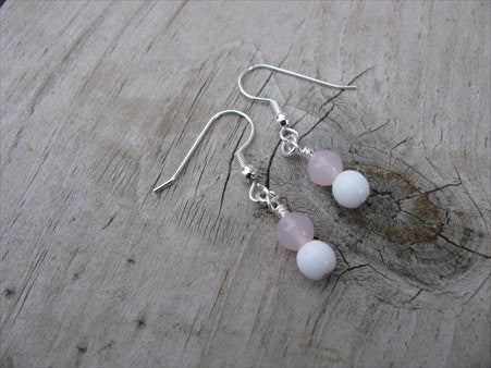 Pale Pink and White- Beaded Earrings