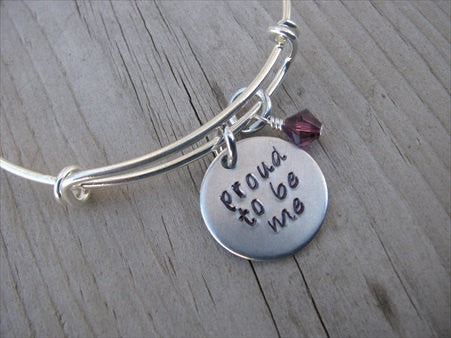 "Proud to be Me Inspiration Bracelet- Hand-Stamped ""proud to be me"" Bracelet with an accent bead of your choice"