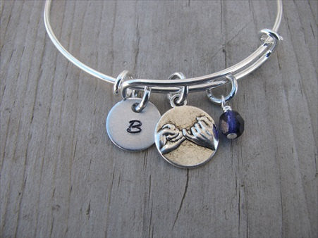 Pinky Promise Charm Bracelet- Adjustable Bangle Bracelet with an Initial Charm and an Accent Bead of your choice