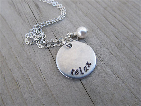 "Relax Inspiration Necklace- ""relax""  - Hand-Stamped Necklace with an accent bead of your choice"