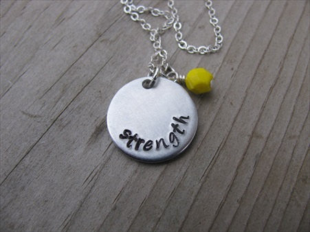 "Strength Inspiration Necklace- ""strength""- Hand-Stamped Necklace with an accent bead in your choice of colors"